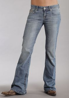 Stetson Womens Blue Cotton Blend Light Wash Flared Leg Rhinestone Jeans
