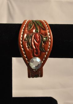Hand tooled and painted leather bracelet by Lucky2RanchSaddles, $30.00