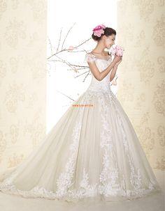Traîne moyenne Col ras du cou Naturel Robes de mariée 2015