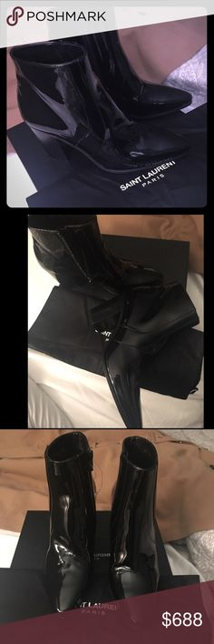 💯 Authentic YSL BOOTIES 💯 Authentic YSL patent leather booties. Short chunky heel. Never before worn. Comes with original box and original dust bag. Size 38. Absolutely chic. Real leather of course. Yves Saint Laurent Shoes Ankle Boots & Booties