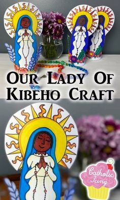 This Our Lady of Kibeho craft is also a coloring activity with kids! This printable coloring page and craft is the perfect way to learn about this Marian apparation from Rwanda Africa. #catholic #virginmary #ourladyofkibeho #catholickids #liturgicalliving #blackcatholichistory #kibeho #africansaint #blackcatholic