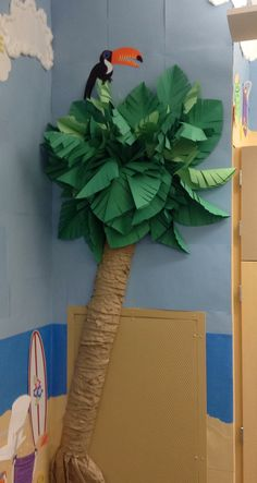 Paper palm tree for the school bulletin board.  Tropical theme.