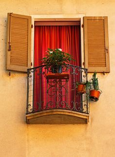 Red curtain and potted plants, orange shutters