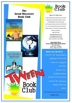 NEW! The Great Discovery Tween Book Club!