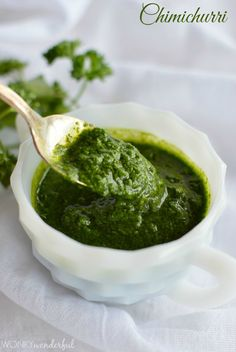 Chimichurri Recipe (Parsley - Cilantro - Garlic - Lime - Olive Oil) ~ Use as a dip or sauce (great on steak! Paleo Recipes, Whole Food Recipes, Cooking Recipes, Healthy Dips, Healthy Eating, Sin Gluten, Steak Appetizers, Chimichurri, Cilantro