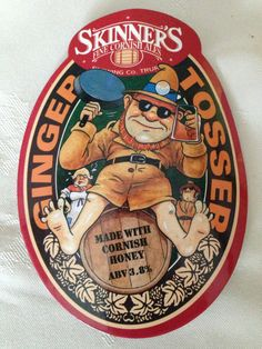 Ginger Tosser Original Beer Pump Clip Face Skinners Cornish Ale Breweriana Pub