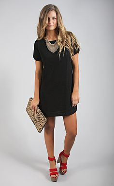 bubble gum shift dress - black | ShopRiffraff.com