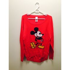 Red Mickey Mouse Sweater Soft, comfortable, and adorable for any Disney lover! It is a large but I am a medium and it fit comfortably- with long sleeves like I like them. :) disney Sweaters
