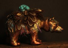 Spirit Bear with Copper Raku finish and a turquoise by MishasArt