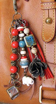 Purse Charm, Charm Tassel, Zipper Pull, Key Chain - Elephant, Flower,  Leaded Glass Cube, Red, Ceramic, Suede, Brass, Brown, Cream, Green