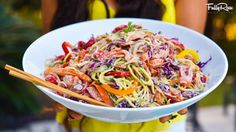This is a spin on my classic pad thai dish that makes it more sweet, more spicy, and even more . Vegan Zoodle Recipes, Raw Vegan Recipes, Vegan Foods, Vegan Vegetarian, Healthy Recipes, Vegan Raw, Healthy Foods, Pad Thai Noodles, Kelp Noodles