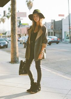 Cool style - Fedora hat, oversize jacket, skinny pants, Alexander Wang bag and sneaker wedges