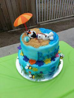 My sons Olaf Summer luau birthday cake by Jennifer @mainstreetcakes