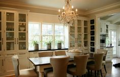 BOXWOOD TERRACE: Ina Garten's Napa Valley Kitchen Perfect tiny kitchen with adjoining dining room, built-in cabinets. Dining Room Design, Dining Area, Kitchen Design, Kitchen Ideas, Kitchen Inspiration, Comfy Cozy Home, Inside A House, Classic Dining Room, Beautiful Dining Rooms