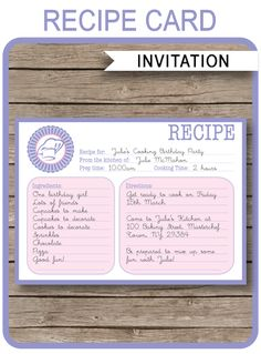 Glamping party invitations template party invitations party cooking recipe card invitations template stopboris Choice Image