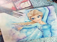 Speed Drawing: Elsa of Frozen by Diana Diaz - YouTube