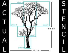 Wall Stencil - Large Bare Tree - 6 Feet 8 inches Tall!