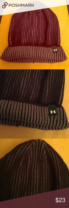 🆕 Under Armour Beanie Authentic Under Armour Beanie. Women/Unisex. One Size. Striped. Grey & Black. Color Combo is Reversed on the Cuff. Cuff has Black Tab on the Left Side with White UA Logo. Brand New. Excellent Condition. No Trades. See other Under Armour listings in my closet. 👍🏽 Under Armour Accessories Hats