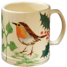 Robin and Holly mug - Aston Pottery