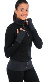 Warm-Up Athletic Jacket - workout in this beautiful women's athletic jacket. Perfect for outside activity during fall or winter. 3 way to style the collar. Trendy feel. Superb comfort. #workoutwear #fitnessclothing