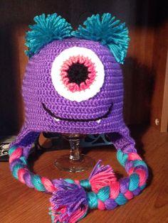 Monster's ink baby girl crochet beanie