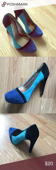 New! BCBG suede color block heels New! BCBG suede color block heels size 6 BCBGeneration Shoes Platforms