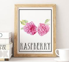 Printable wall art, kitchen decor, raspberry print, raspberry wall art…