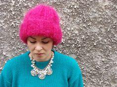 Nudakillers - Mohair Beanie fuchsia, handmade, knitted