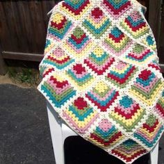 Check out this unique crochet granny square afghan.