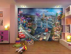 Fototapete Tapete Cars 2 Städte Pixar Kindertapete Foto 360 cm x 254 cm