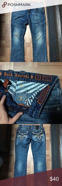Men's affliction rock revival jeans size 31 Great condition. Distressed jeans Rock Revival Jeans Boot Cut