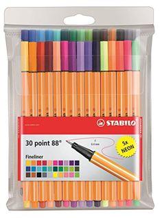 Stabilo Pens Item 8830-1 Point 88-Fine Point-30 Color Wallet of Coloring Pens/Fineline Markers-Includes 30 Unique Colors