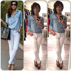 Outfit, ootd, withe jeans, blouse jeans, leopard shoes www.mbstyliste.ca Facebook