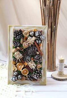 Christmas wall decoration for home, Festive framed wall art, Xmas home decor, Pine cones wall hanging, Natural Christmas wall decor Christmas Card Crafts, Christmas Decorations For The Home, Christmas Cards To Make, Christmas Centerpieces, Holiday Crafts, Christmas Ornaments, Pine Cone Art, Pine Cones, Framed Wall