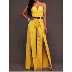 7863d57d5bc Choies Yellow Bandeau Thigh Split Detail Jumpsuit ( 37) ❤ liked on Polyvore  featuring jumpsuits