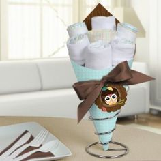Owl - Look Whooo's Having A Baby - Diaper Bouquets - Baby Shower Centerpieces