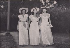 Doris May, of Philadelphia, Jeanne Noble of Albany, Georgia and Rosalind Murray of Washington, D.C., attend the Dean's Garden Party at Howard University in May 1946. This annual affair, hosted by Susie A. Elliott, Dean of Women, was held on the lawn facing the women's dormitories for mothers of the graduates and alumni and friends of the university. The event was featured in the October 1946 edition of the Howard University Bulletin.