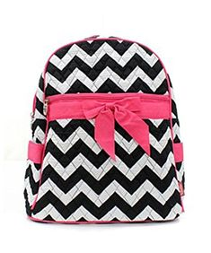 Quilted Black And White Chevron Medium Backpack With Hot Pink Accents *** You can get additional details at the image link. http://www.amazon.com/gp/product/B00N35IECA/?tag=camping3638-20&pkl=100117205048