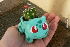I recently made a small Bulbasaur pot from clay to hold a tiny plant