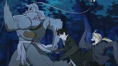 My favorite idiots. | Ed, Al, and Roy | #running | Fullmetal Alchemist Brotherhood | (gif)