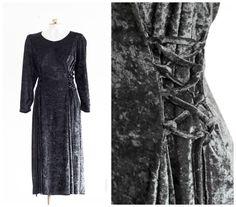 Black crushed velvet long sleeve dress with lace up sides by TimeTravelFashions on Etsy