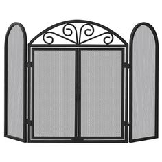 Black Triple Panel Wrought Iron Fireplace Screen with Doors #LearnShopEnjoy 48 wide x 32.5 high