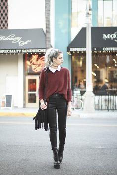 Knit burgundy sweater + high rise skinny jeans. ZaZumi.com