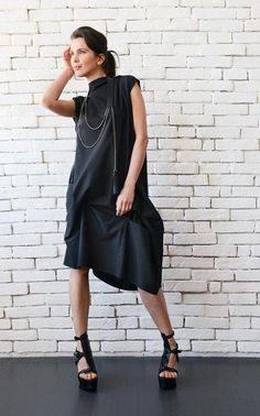 NEW Black Asymmetric Dress Plus Size Maxi Dress Oversize Tunic Plus Size  Maxi Dresses b6e7d0e5f