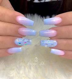Blue Ombre Nails, Purple Acrylic Nails, Acrylic Nails Coffin Short, Summer Acrylic Nails, Summer Nails, Acrylic Gel, Spring Nails, Ombre Nail Colors, Coffin Nails Ombre