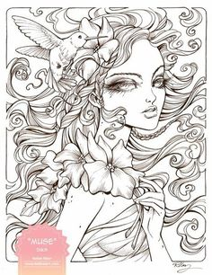 Pages coloring for flowers girls printable
