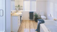 Dream Zone - - Bathroom flooring is a great way to add style and could even be a feature piece. Reno Ideas, Bathroom Flooring, Clawfoot Bathtub, Kitchen, Style, Swag, Cuisine, Stylus, Kitchens