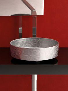 Pert Rho Lux Silver Leaf Modern Vessel Sink modern bathroom sinks