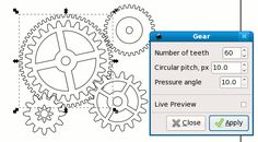 Tutorial showing how to create gears in Inkscape.
