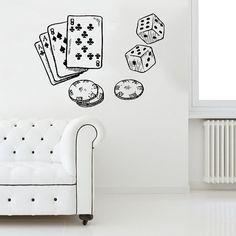 Poker Chips Wall Decal gioco Casino carte Dices decalcomanie parete vinile autoadesivo interni casa Decor Vinyl Wall Art Decor murale camera Art SV5901